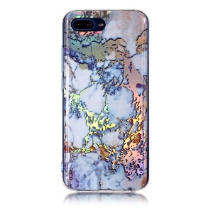 Marble Pattern Plated IMD TPU Shell for Huawei Honor 10 - Dark Blue