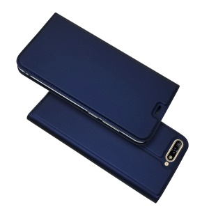 Auto-absorbed Stand Card Holder Leather Mobile Case for Huawei Y6 (2018)/Honor 7A (without Fingerprint Sensor) - Blue