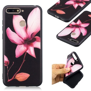 Pattern Printing Embossment Soft TPU Cell Phone Case for Huawei Honor 7A (with Fingerprint Sensor) / Honor 7A Pro / Enjoy 8e - Pink Flower