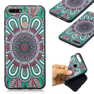 Pattern Printing Embossment Soft TPU Cell Phone Cover for Huawei Honor 7A (with Fingerprint Sensor) / Honor 7A Pro / Enjoy 8e - Symmetric Pattern