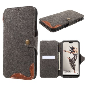 Felt Leather Wallet Protection Phone Case for Huawei P20 Pro - Brown
