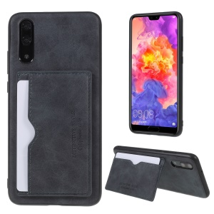Retro Style PU leather Coated TPU Card Holder Back Case with Kickstand for Huawei P20 - Grey