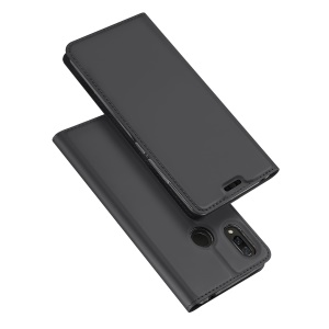 DUX DUCIS Skin Pro Series Card Holder Stand Leather Mobile Case for Huawei nova 3 - Dark Grey