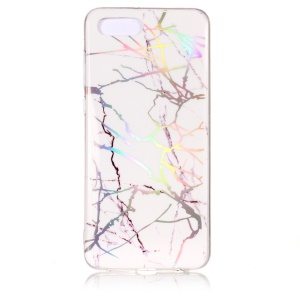 Marble Pattern Color Plated IMD Soft TPU Gel Cover for Huawei Y5 (2018) / Y5 Prime (2018) / Honor 7s / Play 7 - White