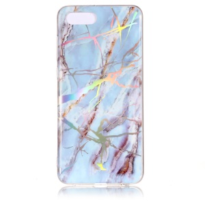 Marble Pattern Color Plated IMD Soft TPU Casing Cover for Huawei Y5 (2018) / Y5 Prime (2018) / Honor 7s / Play 7 - Baby Blue