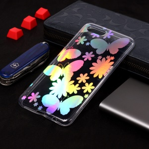 Colorful Laser Carving Patterned TPU Case Accessory for Huawei Y5 (2018) / Y5 Prime (2018) / Honor 7s / Play 7 - Butterflies and Flower
