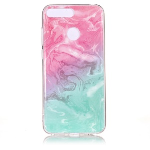 Marble Pattern IMD TPU Mobile Phone Case for Huawei Y6 (2018) / Honor 7A (without Fingerprint Sensor) - Pink / Green