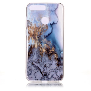 Marble Pattern IMD TPU Shell Cover Case for Huawei Y6 (2018) / Honor 7A (without Fingerprint Sensor) - Gold / Blue