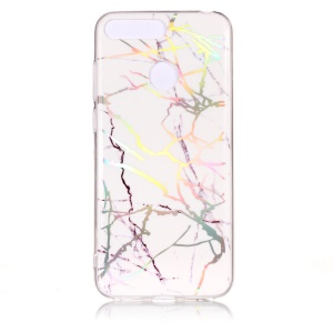 Marble Pattern Color Plated IMD TPU Phone Cover for Huawei Y6 (2018) / Honor 7A (with Fingerprint Sensor) / Honor 7A Pro / Enjoy 8e - White