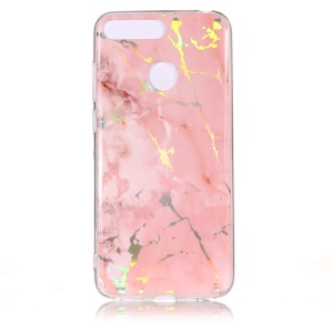 Marble Pattern Color Plated IMD TPU Protective Casing for Huawei Y6 (2018) / Honor 7A (with Fingerprint Sensor) / Honor 7A Pro / Enjoy 8e - Pink