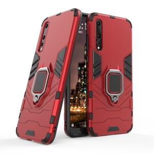 Finger Ring Kickstand PC + TPU Hybrid Mobile Phone Cover  for Huawei P20 Pro - Red