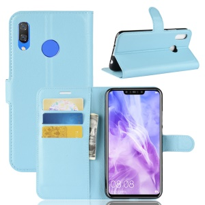 Litchi Skin Leather Wallet Case for Huawei nova 3 - Baby Blue