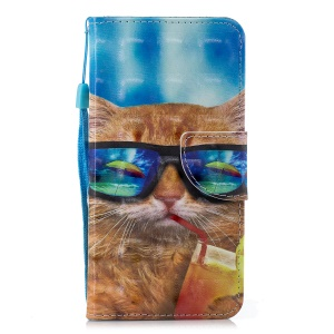 Pattern Printing Light Spot Decor Wallet Stand Leather Flip Case for Huawei Y6 (2018) / Honor 7A (without Fingerprint Sensor) - Cat Wearing Glasses