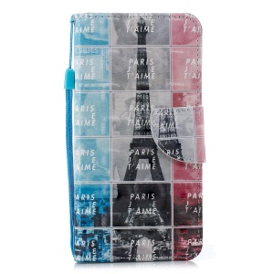 Pattern Printing Light Spot Decor Wallet Stand Leather Flip Cover for Huawei Y6 (2018) / Honor 7A (without Fingerprint Sensor) - Eiffel Tower