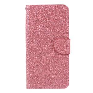 Flash Powder Leather Wallet Case Accessory for Huawei Y6 (2018) / Honor 7A (without Fingerprint Sensor) - Pink