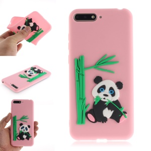 3D Panda Bamboo Soft TPU Protector Case for Huawei Y6 (2018) / Honor 7A (without Fingerprint Sensor) - Pink