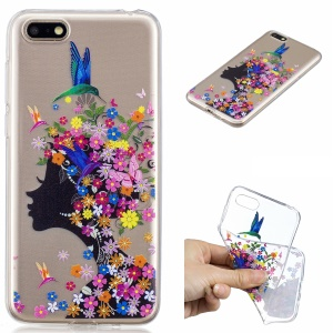Pattern Printing IMD TPU Mobile Phone Case for Huawei Y5 (2018) / Y5 Prime (2018) / Honor 7s / Play 7 - Flowered Girl
