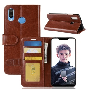Crazy Horse Leather Wallet Mobile Cover for Huawei Honor Play - Brown
