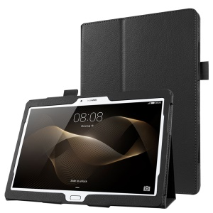 Litchi Skin Leather Stand Case for Huawei MediaPad M2 10.0 - Black