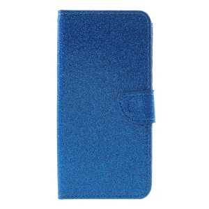 Glittery Powder Wallet Stand Leather Case Accessory for Huawei Honor 7C / Enjoy 8 - Blue