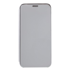 Plating Mirror Surface View Window Leather Stand Shell for Huawei Y5 (2018) / Y5 Prime (2018) / Honor Play 7 / Honor 7s - Silver