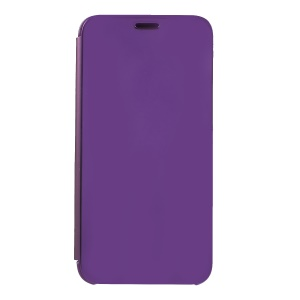 Plating Mirror Surface View Window Leather Protective Casing for Huawei Y5 (2018) / Y5 Prime (2018) / Honor Play 7 / Honor 7s - Light Purple