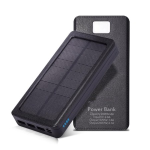 Waterproof Three USB 10000mAh Solar External Power Bank with Flashlight for Smartphones Tablets - All Black