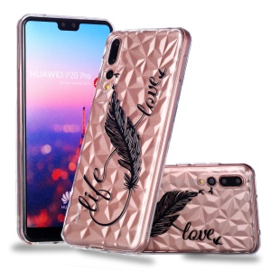 Embossed Pattern 3D Diamond Surface Soft TPU Phone Casing Cover for Huawei P20 Pro - Feather Pen