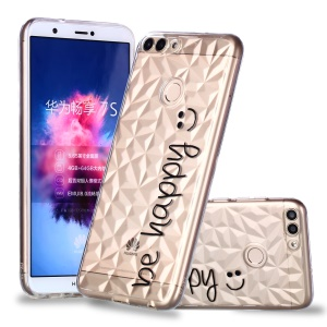 Embossed Pattern 3D Diamond Surface TPU Back Phone Casing for Huawei P Smart/Enjoy 7S - Be Happy