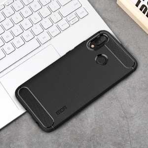 MOFI Carbon Fiber Texture Brushed TPU Back Case for Huawei P Smart+ / nova 3i - Black