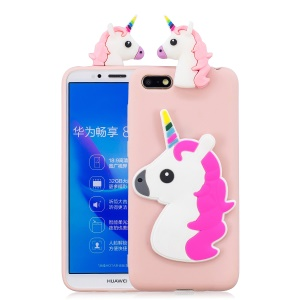 3D Animal Pattern Printing TPU Cell Phone Cover for Huawei Y5 (2018) / Y5 Prime (2018) / Honor Play 7 / Honor 7s - Unicorn