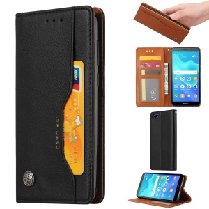 PU Leather Auto-absorbed Stand Wallet Phone Case for Huawei Y5 (2018) / Y5 Prime (2018) / Honor 7s / Honor Play 7 - Black
