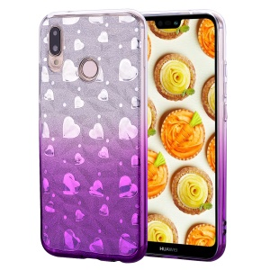 Gradient Color Love Heart 3D Diamond Grain Soft TPU Phone Accessory Casing Shell for Huawei P20 Lite / Nova 3e - Light Purple