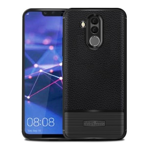 Litchi Texture Brushed TPU Mobile Shell Case for Huawei Mate 20 Lite - Black
