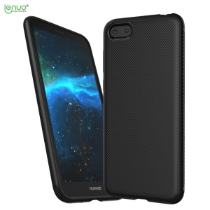 LENUO Twill Texture Soft TPU Phone Shell for Huawei Y5 (2018) / Y5 Prime (2018) / Honor 7s / Play 7 - Black
