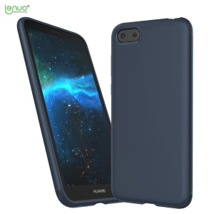 LENUO Twill Texture Soft TPU Phone Back Case for Huawei Y5 (2018) / Y5 Prime (2018) / Honor 7s / Play 7 - Dark Blue