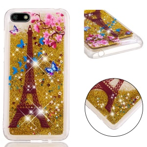Dynamic Glitter Powder Sequins Patterned TPU Phone Cover for Huawei Y5 (2018) / Y5 Prime (2018) / Honor 7s / Play 7 - Eiffel Tower