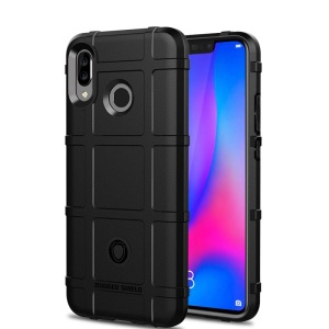 Anti-shock Square Grid Texture Soft TPU Cell Phone Case for Huawei nova 3 - Black