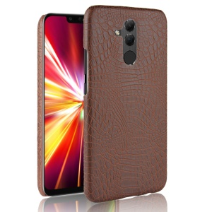 For Huawei Mate 20 Lite/Maimang 7 Crocodile Texture PU Leather Coated PC Phone Case Cover - Brown