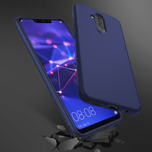 Twill Texture Silicone Back Phone Shell for Huawei Mate 20 Lite - Blue