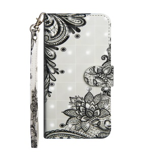 For Huawei nova 3 Case (Stand and Wallet) Pattern Printing Light Spot Decor Leather Cover - Lace Flower
