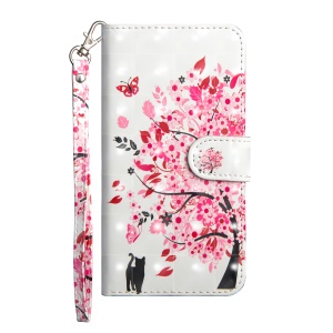 Pattern Printing Leather Wallet Case [with Stand Lanyard] for Huawei Honor 8X - Cat and Flowered Tree