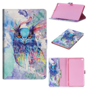 Pattern Printing PU Leather Smart Tablet Shell [with Wallet Stand] for Huawei MediaPad M5 10 / M5 10 (Pro) - Colorful Owl