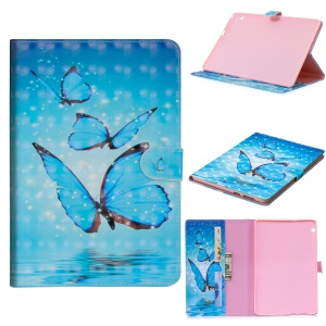 Light Spot Decor Patterned Smart Leather Stand Wallet Case for Huawei MediaPad T3 10 - Blue Butterfly