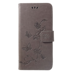 Imprint Butterfly Flower [Wallet Stand] Leather Shell for Huawei nova 3i / P Smart Plus - Grey