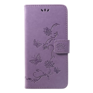 Imprint Butterfly Flower PU Leather Cell Phone Case [with Wallet Stand] for Huawei nova 3i / P Smart Plus - Light Purple