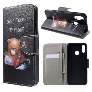 Pattern Printing Wallet Stand Flip Leather Case for Huawei nova 3i / P Smart+ - Angry Bear and Warning