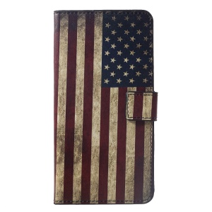 Pattern Printing Wallet Stand Leather Cover for Huawei nova 3i / P Smart+ - Retro US Flag