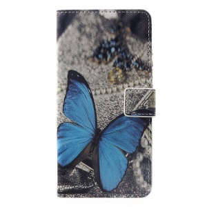 Pattern Printing Wallet Stand Leather Mobile Case for Huawei nova 3i / P Smart+ - Blue Butterfly