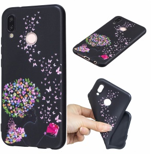 Pattern Printing Embossed TPU Slim Cover Accessory for Huawei P20 Lite / Nova 3e (China) - Flower and Butterfly